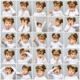 Collage av den lilla gulliga flickan med olika sinnesrörelser och gester Arkivfoto