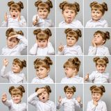 Collage av den lilla gulliga flickan med olika sinnesrörelser och gester Royaltyfria Bilder