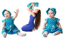 Collage av den lyckliga mamma- och barnflickan som kramar isolaten på vit bakgrund. Begreppet av barndom och familjen. Arkivfoton