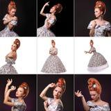 Collage av den lyxiga unga härliga kvinnan i tappningvictorianklänning Royaltyfria Bilder