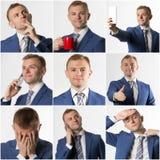 Collage av den olika affärsmannen poserar och epressions arkivbilder
