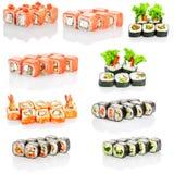 Collage av den olika menyn för japansk restaurang för sushi på vit bakgrund royaltyfria foton
