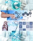 Collage av den olika moderna läkarundersökningen arkivbilder