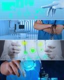 Collage av den olika moderna läkarundersökningen arkivfoto