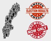 Collage av den röstningSverige översikten och Grunge nu endast att stämpla royaltyfri illustrationer