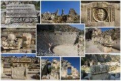 Collage av den romerska theatren Arkivfoto