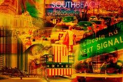 Collage av den södra stranden Miami royaltyfri bild