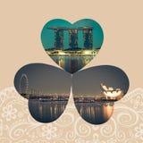Collage av den Singapore staden på natten arkivfoto