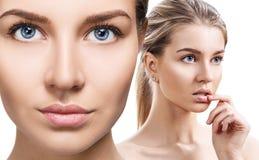 Collage av den sinnliga kvinnan med perfekt ren hud arkivfoto
