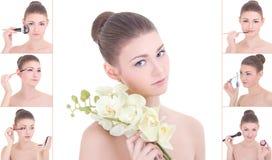 Collage av den unga attraktiva kvinnan som applicerar smink Royaltyfri Bild