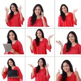 Collage av den unga gladlynta indiska kvinnan med olika uttryck över vit royaltyfri bild
