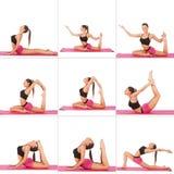 Collage av den unga härliga flickan som poserar yoga på vit Royaltyfri Foto