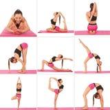 Collage av den unga härliga flickan som poserar yoga på vit Arkivbild