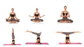 Collage av den unga härliga flickan som poserar yoga på vit Royaltyfria Bilder