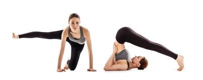 Collage av den unga kvinnan utbildar yoga arkivbilder