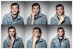 Collage av den unga mannen med olika uttryck arkivbild