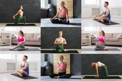 Collage av den unga mannen och kvinnor som öva yoga royaltyfria bilder