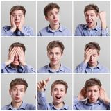 Collage av den unga mannen som uttrycker olika sinnesrörelser royaltyfria bilder