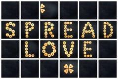 Collage av den uppercase bokstaven - FÖRÄLSKELSE för ord SPRIDNING Royaltyfria Bilder