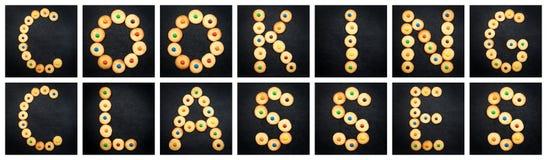 Collage av den uppercase bokstaven - GRUPPER för ord MATLAGNING Royaltyfria Foton