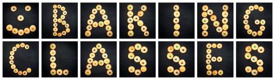 Collage av den uppercase bokstaven - ord som BAKAR GRUPPER Fotografering för Bildbyråer