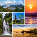 Collage av det Bali Indonesien loppet avbildar mina foto arkivfoton