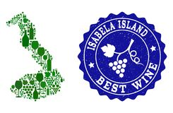 Collage av druvavinöversikten av Galapagos - Isabela Island och den bästa vinGrungevattenstämpeln stock illustrationer