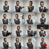 Collage av en hemfallen man för smart telefon royaltyfri fotografi