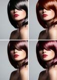 Collage av en härlig kvinna med blandat färghår Royaltyfria Bilder