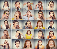 Collage av en kvinna som uttrycker olika sinnesrörelser royaltyfria foton