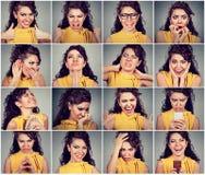 Collage av en kvinna som uttrycker olika sinnesrörelser och känslor royaltyfri fotografi