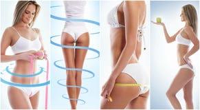 Collage av en kvinnlig kropp med pilar arkivfoto