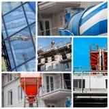 Collage av en ny bostads- byggnad Royaltyfri Bild