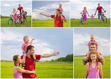 Collage av den lyckliga familjen royaltyfria bilder