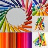 Collage av färgblyertspennor royaltyfria foton