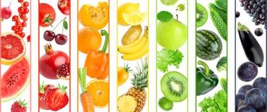 Collage av färgfrukter och grönsaker royaltyfri foto