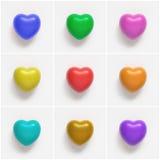 Collage av färgrik hjärta formar på vit bakgrund Royaltyfria Foton