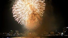 Collage av färgrika fyrverkerier som exploderar i natthimlen för lyckligt nytt år lager videofilmer