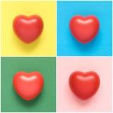 Collage av färgrika hjärtaformer Royaltyfri Foto