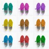 Collage av färgrika skor Arkivbilder
