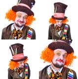 Collage av få bilder Tokiga olika ansikts- sinnesrörelser för hattmakare` s Royaltyfri Fotografi