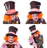 Collage av få bilder Tokiga olika ansikts- sinnesrörelser för hattmakare` s Fotografering för Bildbyråer