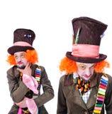 Collage av få bilder Tokiga olika ansikts- sinnesrörelser för hattmakare` s Royaltyfria Foton