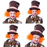 Collage av få bilder Tokiga olika ansikts- sinnesrörelser för hattmakare` s Royaltyfria Bilder