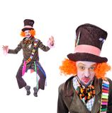 Collage av få bilder Tokiga olika ansikts- sinnesrörelser för hattmakare` s Arkivbilder