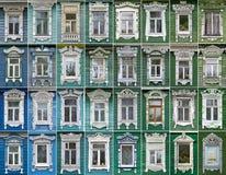 Collage av fönster med arkitrav Rostov Arkivbilder