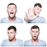 Collage av förskräckta, chockade stressade framsidauttryck Royaltyfri Foto