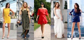 Collage av fem härliga modeller i kulör sommar klär arkivfoton