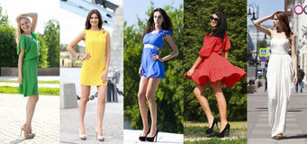 Collage av fem härliga modeller i kulör sommar klär royaltyfria foton