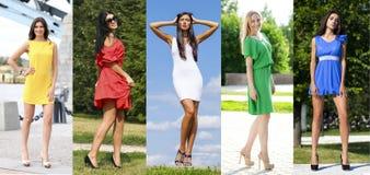 Collage av fem härliga modeller i kulör sommar klär Arkivfoto